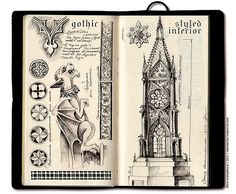 Sketch Book so much detail - Sketches for a Gothic-styled interior. On the left page - a gargoyle (sculpture) for the swimming-pool. On the right one a metal lamp for the hall. Travel Sketchbook, Arte Sketchbook, Sketchbook Pages, Kunstjournal Inspiration, Sketchbook Inspiration, Architecture Drawing Sketchbooks, Art And Architecture, Architecture Portfolio, Art Sketches