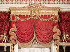 A set of seven George III carved giltwood and painted pelmets by Thomas Chippendale the Younger,Chippendale's crowning achievement in The Gallery. The wood imitates heavy red fabric with gold…