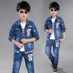 Boy 's Clothes Autumn 2016 Jean Jacket Suit Kinderkleding Jongens New Flag Pattern Classic Pants Nrormal Children's Sports Suits