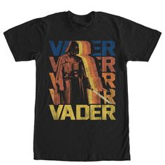 Another Face - What happens when Jedi turns Sith? Find out with the Star Wars Darth Vader Duplicates Black T-Shirt. A distressed vintage-style print on the front of this classic black Darth Vader tee shirt features Vader holding his lightsaber with his name behind