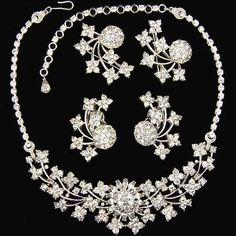 Pennino Pave Intertwined Comets and Shooting Stars Necklace, Scatter Pins and Clip Earrings Set ca 1947-48