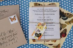 Antiquaria: calligraphy invitations butterflies
