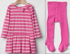 GAP Baby Girl Stipe Pleat Bow Dress 557083 Tights 684218 Cotton Pink 12-18 18-24 #babyGap #DressyEveryday #GAP557083 #684218 #GAPgirldress #GAPsettights #GAPbowdress