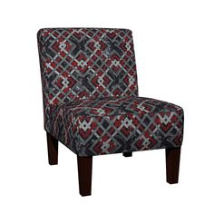 Maran Slipper Chair featuring Cheater Quilt Carpenters Square Pattern Black Red by wickedrefined, this fabric is available at Spoonflower.com