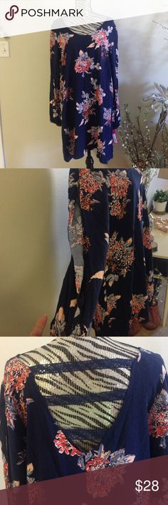 NWT long sleeve floral dress Open sleeves navy with flowers never worn new with tags and open back Xhilaration Dresses Long Sleeve