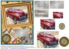 DAD 3D Vintage Buic on Craftsuprint designed by Di Simpson - A great card topper for dad. 3D vintage buic. Elements to bring to life. - Now available for download!