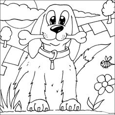 Cainele si osul de colorat Free Kids Coloring Pages, Bunny Coloring Pages, Dog Coloring Page, Colouring Pages, Printable Coloring Pages, Coloring Pages For Kids, Coloring Books, Easter Bunny Colouring, Black And White Dog