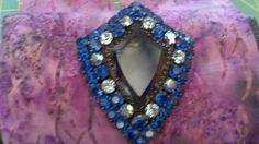 Weiss sterling large blue shield brooch.
