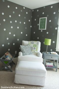 The gray walls but with pink polka dots. Love!!