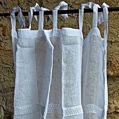 Romantische Gardinen, Vorhänge & Stores im Leinenlook Towel, Tote Bag, Vintage, Linen Fabric, Textiles, Totes, Vintage Comics, Tote Bags