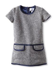 64% OFF Baby CZ by Carolina Zapf Girl\'s Lola Tweed Dress (Navy/Crème/Black)