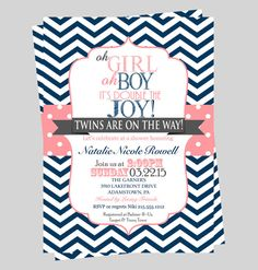 Twins elephant baby shower invitation pink and by modernbeautiful double joy baby shower invitations twins navy and coral chevron striped guest announcement classic party ideas plan a celebration filmwisefo Image collections