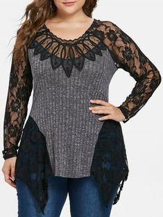 75b7671285f Plus Size Lace Panel Asymmetrical Knit Top - GRAY 3X Lace Insert