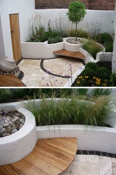 10 Inspirational Ideas For Including Custom Concrete Planters In Your Yard // The painted built in concrete planters on this patio provide…