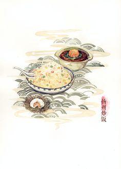 下扬州,吃东西~-木爻_食物_涂鸦王国插画 Xia Yangzhou, food illustration