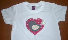 camiseta patchwork heart & bird  camiseta de algodón 100%,tejidos  lazo,botón patchwork aplicación