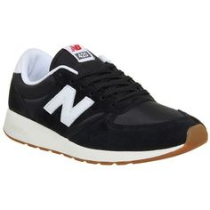 420 Trainers by New Balance Supplied by Office ($96) ❤ liked on Polyvore featuring shoes, sneakers, black, new balance footwear, mesh shoes, new balance shoes, black sneakers and black trainers