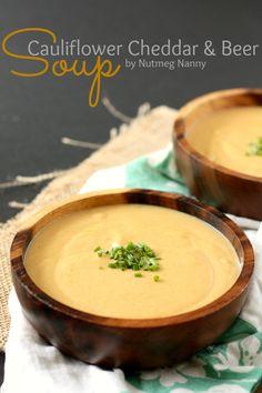Cauliflower Cheddar Beer Soup @Brandy Clabaugh {Nutmeg Nanny}
