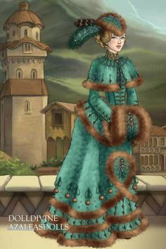 Noblewoman in turquoise coat dress by Inanna ~ High Fantasy Dress Up