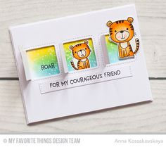 Lions and Tigers Stamp Set and Die-namics, Stitched Interactive Window Trio - Vertical Die-namics, Blueprints 31 Die-namics - Anna Kossakovskaya  #mftstamps
