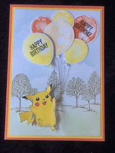 Pokemon theme birthday card, Happy Birthday, Lovely as a tree, Balloon Builder, sponged background, clouds, Kids
