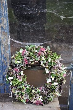 Wreath - snowberry, orpine, Spanish moss, common moss and hydrangea