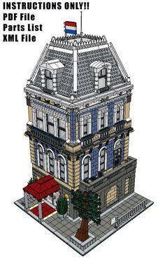 Lego Custom Modular Building - Amsterdam Hotel - INSTRUCTIONS ONLY!! 10185 10182 #LEGO