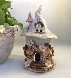 Fairy house oil burner, night light house, tea light burner, candle holder - pinned by pin4etsy.com