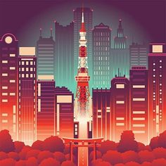 By @coen_pohl_design -  Alternative version which was not choosen in the end for SHOP magazine (see previous post). . Tag #designarf to featured! . #tokyo #skyline #city #neon #illustration #nightlife #graphicdesign #lights #tokyotower #design #graphic #designer #picoftheday #instagood #color #architecture #poster by designarf