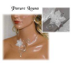 Parure mariage originale fleur soie ivoire perles aluminium