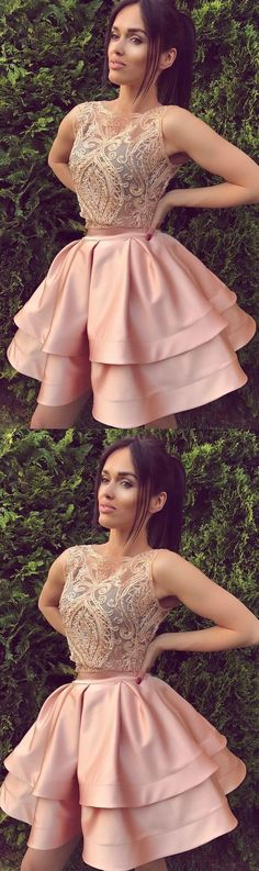 Layered Homecoming Dresses, Pink A-line/Princess Prom Dresses, Two Piece Pink Prom Dresses, 2017 Homecoming Dress Beading Bateau Short Prom Dress Party Dress Pink Party Dresses, Princess Prom Dresses, Quince Dresses, Sweet 16 Dresses, Prom Dresses Blue, Princess Party, Dress Party, Dresses Dresses, Floral Dresses