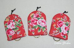 Rosy Red Key Cover set 3 pcs by JibbieStudio on Etsy