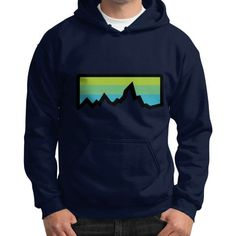 Abstract Mountain Light Invert Gildan Hoodie (on man) Shirt