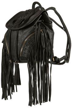 ☯☮ॐ American Hippie Bohemian Style ~ Boho Bag, Black Leather Backpack