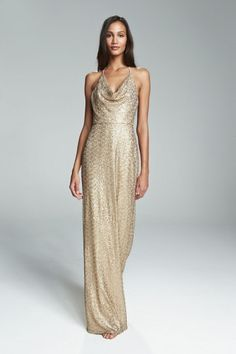 HONORA. Gold sequin bridesmaid gown with cowl neck halter neckline. Available in 3 colors.