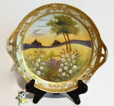 Nippon Beaded Moriage on Gold Gilt - Antique 2 Handled Bowl - Hand Painted Flower Country Scene 8 Inch - pinned by pin4etsy.com