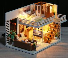 Modern 2 Story DIY Dollhouse - Miniature House Furnished with Lights - Wooden Dollhouse Adult Toy - Dollhouse Furniture Kit - Diy Project - Home Decor Ideas