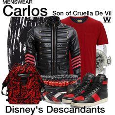Inspired by Cameron Boyce as Carlos, son of Cruela de Vil, in Disney's 2015 TV movie Descendants. Disney Inspired Fashion, Disney Fashion, Men's Fashion, Fashion Outfits, Descendants Costumes, Paris Outfits, Gothic Outfits, Disney Decendants, Disney Themed Outfits