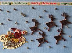 Quilled Christmas Card - Santa Sleigh Reindeer quilling handmade blue Big. via Etsy.
