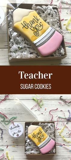 PREORDER Teachers' Appreciation Sugar Cookies - Thank You Pencil Gift Box ARRIVES May unless otherwise noted Looking for ways to show appreciation? Kinds Of Cookies, Cute Cookies, Cupcake Cookies, Cupcakes, Cookie Frosting, Royal Icing Cookies, Iced Cookies, Cookies Et Biscuits, Bolacha Cookies