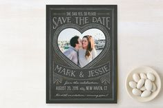 Chalkboard Heart Save The Date Cards by Ann Gardner at minted.com