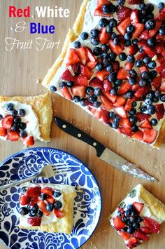Red White  Blue Fruit Tart, Mountain Mama Cooks
