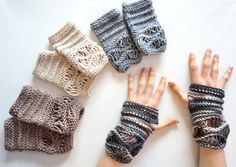 Neutral Gentle Waves Lace Fingerless Gloves, Grey, Beige, Ivory or Stone mix, 1 set of hand painted merino wool in your colour choice, cuff