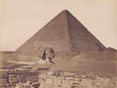 The Great Pyramid of Cheops with the Sphinx -  ca 1860