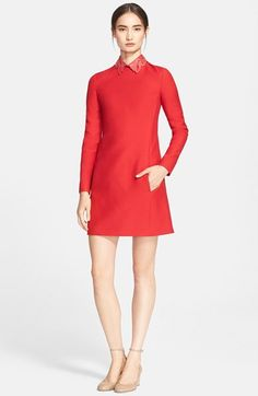 "Free shipping and returns on Valentino Leather Collar Wool & Silk Dress at Nordstrom.com. <p><B STYLE=""COLOR:#990000"">Pre-order this style from the Pre-Spring 2015 collection! Limited quantities. Ships as soon as available. You'll be charged only when your item ships.</b></P><br>A meticulously studded and cutout leather collar flourishes atop a leggy A-line dress cast in Valentino's signature red hue."
