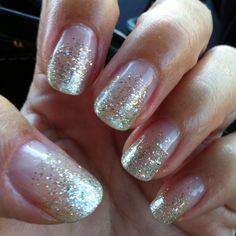 Gelish Night Shimmer on the tips, with Waterfield, Golden Treasure and Grand Jewel gradient fade