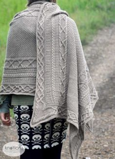 """Inis Oírr (pronounced """"inish-eer""""), named after the smallest of the Aran Islands, is influenced by traditional Aran knitting hailing from this region located in Galway Bay, Ireland. Shawl Patterns, Knitting Patterns Free, Free Knitting, Free Pattern, Crochet Patterns, Cable Knitting, Knit Or Crochet, Crochet Shawl, Crochet Vests"""
