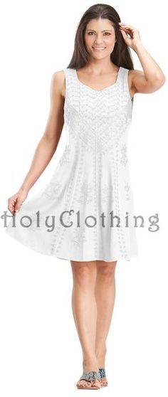 White Ivory Sierra Slimming Satin Inlay Diamond Neck Embroidery Mini Dress - White - Shop by Color - Dresses