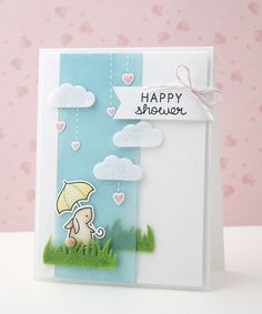 Lawn Fawn - Hello Baby + coordinating dies, Grassy Border _ Happy Shower card by Yainea via Flickr - Photo Sharing!