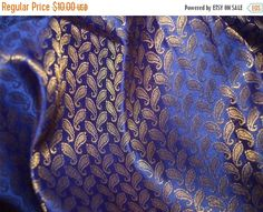 15% OFF Brocade Fabric - Egg Plant  brocade with gold paisley pattern
